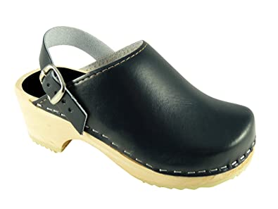 a7df31409d61c Kids Swedish Wooden Clogs in Navy Blue Leather with Strap UK 5.5 EUR ...