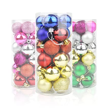 honeyhome multicolor christmas ball decorations 40mm157in tree shatterproof colorful balls - Christmas Ball Decorations