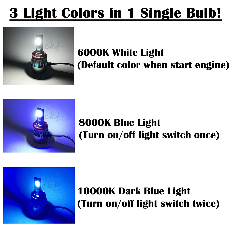 Low Beam Headlight CK Formula H11 6000K White 8000K 10000K Dark Blue Xenon COB LED 7600LM 72W USA 3 Colors in 1 Bulb