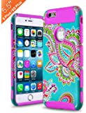 iPhone 6 Plus Case ,iPhone 6s plus Case ,AnnBay High Impact Hard Hybrid Dual Layer Heavy Duty Case Armor Cover Case with Totem Flower Pattern for iPhone 6/6s plus(Purple)