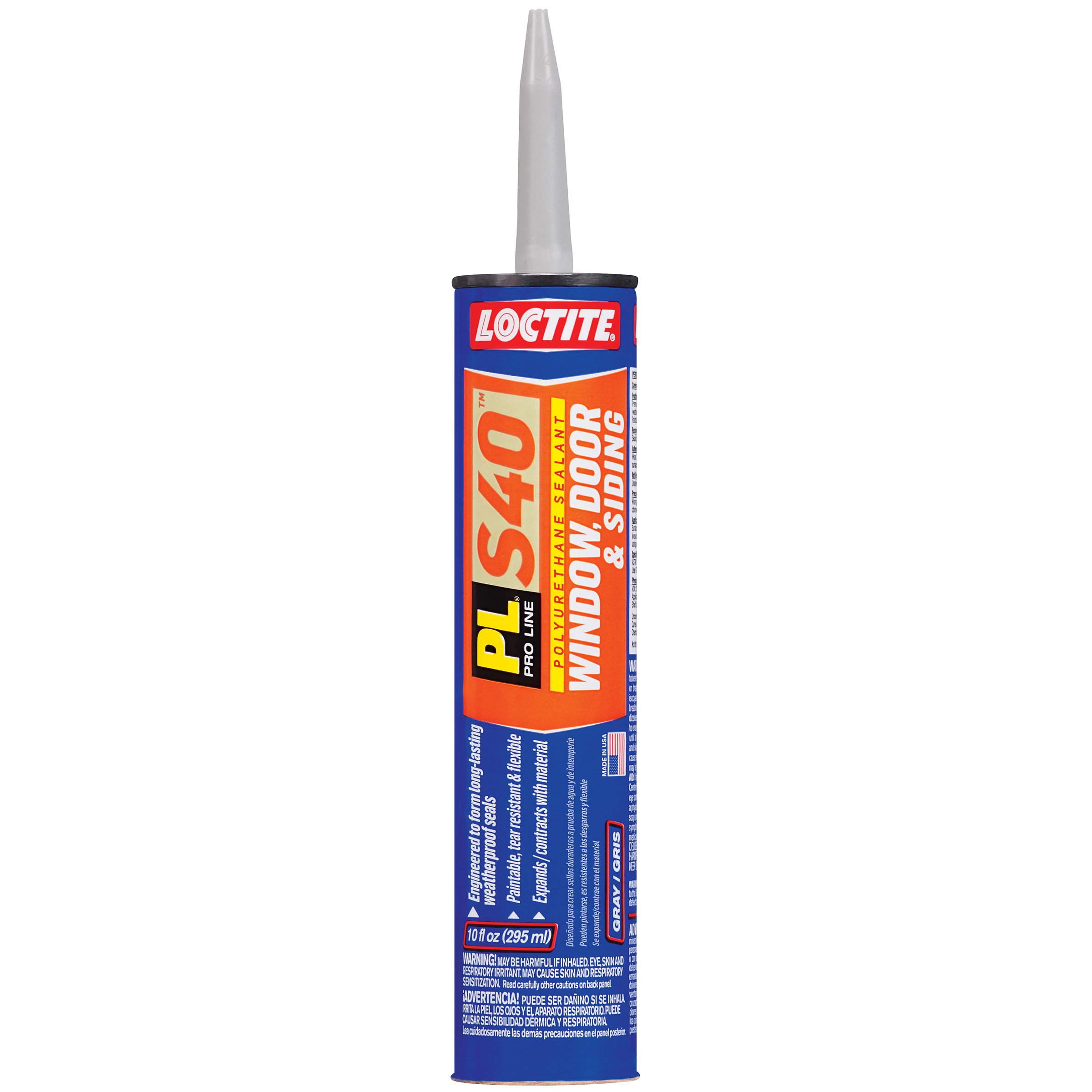 Loctite PL S40 Polyurethane Window, Door and Siding Sealant, 10 Ounce Cartridge, Gray, 12-Pack (1618176-12)