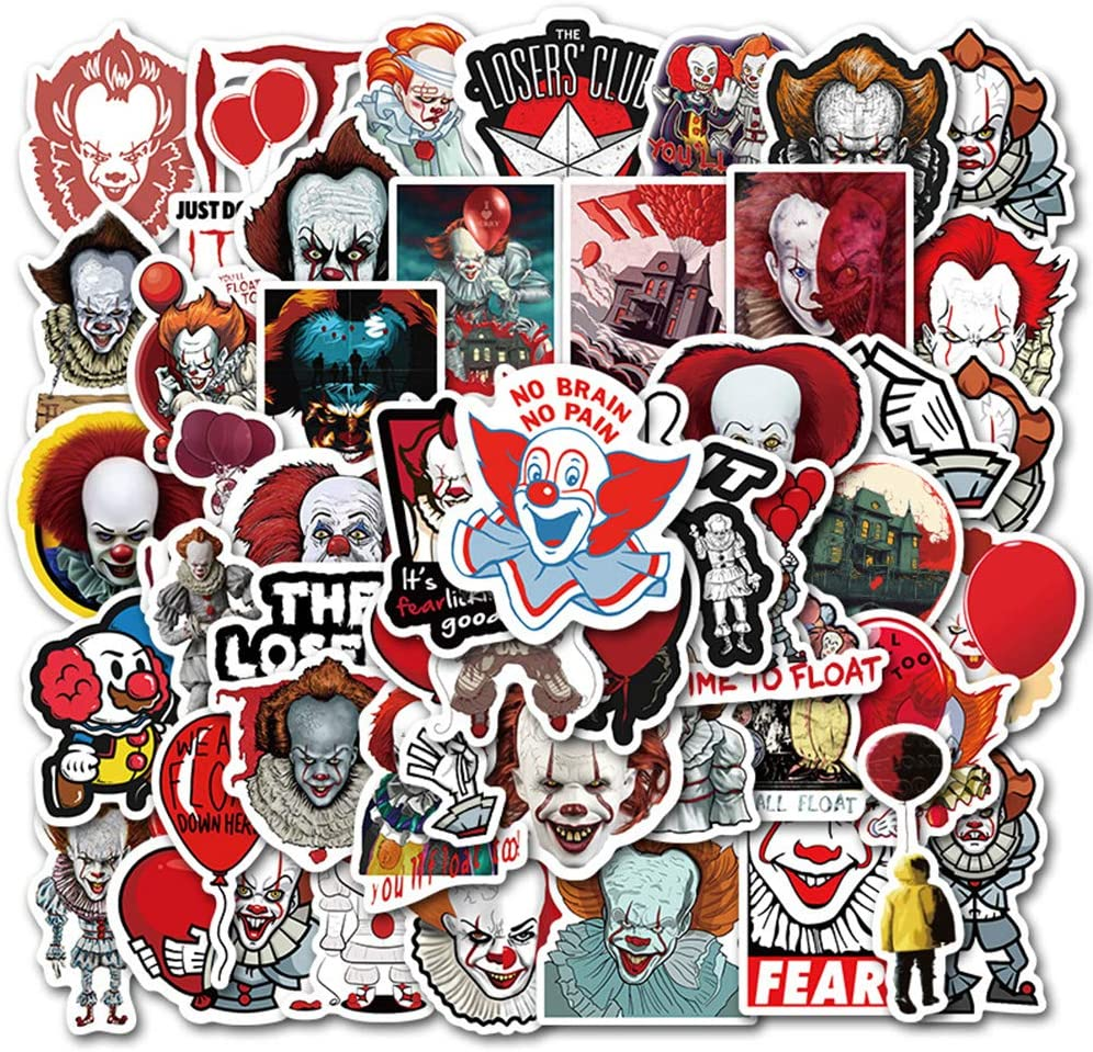 Terror Movie Laptop Stickers 50Pcs Pack, Cool Teen Water Bottle Travel Case Computer Wall Skateboard Motorcycle Phone Bicycle Luggage Guitar Bike Stickers Decal (It)