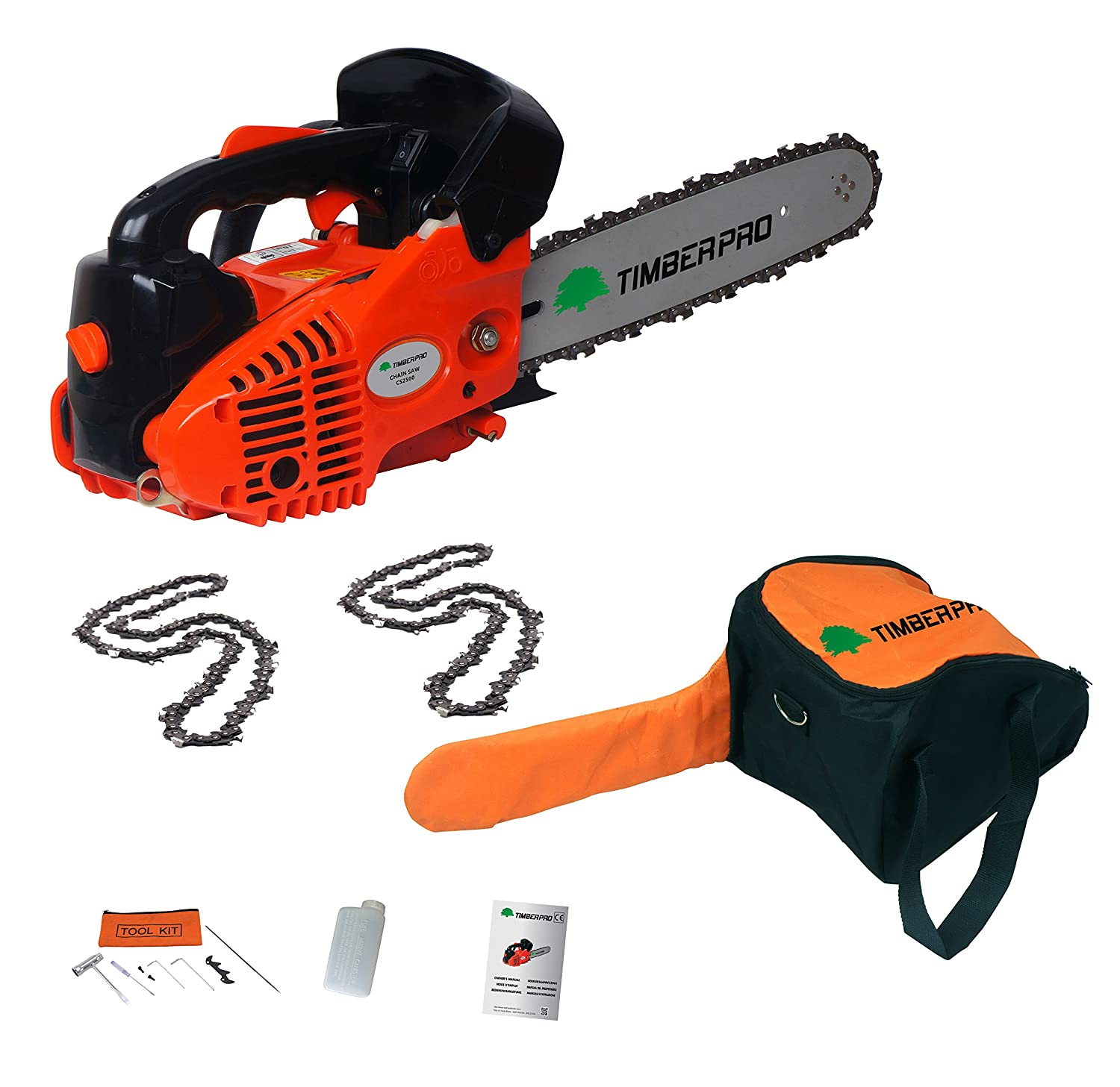 "26CC TIMBERPRO Lightweight TOP Handled Petrol Chainsaw 10"" Bar + 2 Chains"