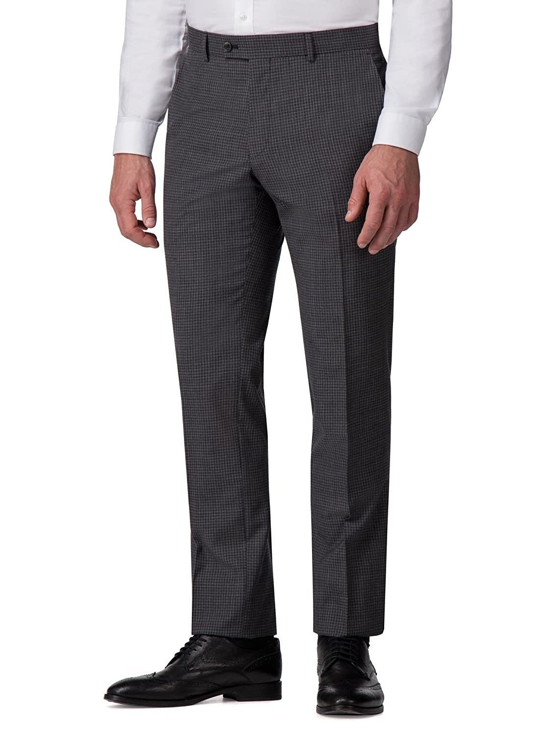 Ben Sherman Charcoal Jaspe Gingham Tailored Fit Trousers 0049603 by Suit Direct