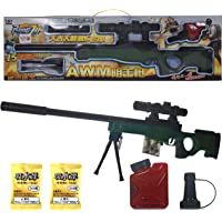 WISHKEY PUBG Theme Gun Toys Set with AWM Model Gun, Scope,1000+ Water Bullets, Tripod, Silencer, Target Shooting Role Play Game for Kids (Green)