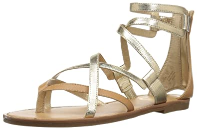 c02439ac6 Circus by Sam Edelman Women s Bevin Flat Sandal Dark Molten Gold Natural  tan 6 M