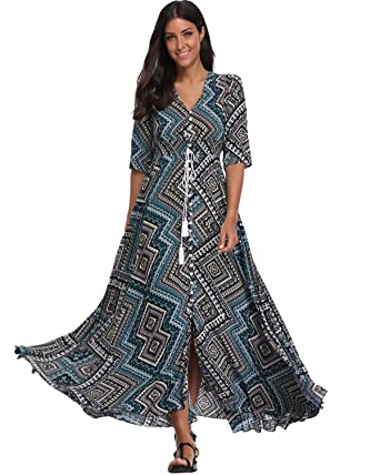BestWendding Summer Floral Print Maxi Dress Women Button up Split Long  Flowy Bohemian Beach Party Dresses ffb8727096ed