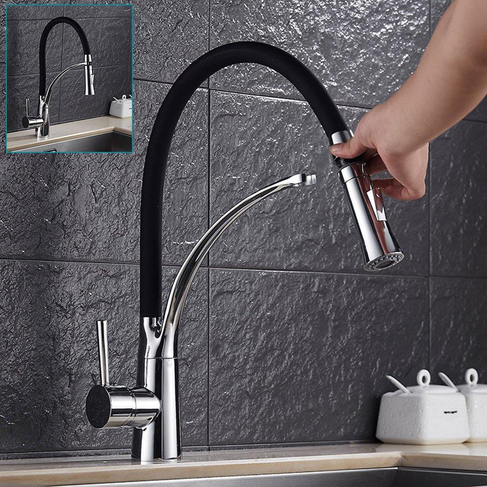 Modern Chrome Kitchen Sink Taps Mono Bloc Single Lever Long Neck Spout Mixer Tap