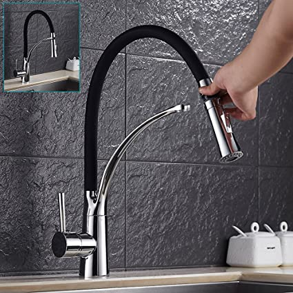 Hot or Cold Mixer Chrome Water Tap Faucet for Kitchen Wash Basin With Two Hose