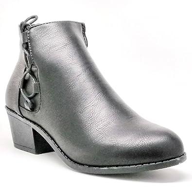 84db697f5de6 T1662-Steven Ella-Women s Black Short Stacked Heel Boot with Lace Detail  (5.5