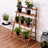CASART Flower Shelf Pot Rack Folding Bamboo Plant Stands Garden Holder Display Shelf Ladder Outdoor/Indoor