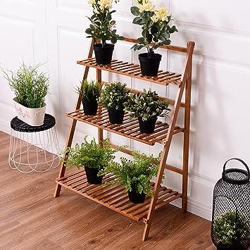 Attrayant CASART Flower Shelf Pot Rack Folding Bamboo Plant Stands Garden Holder  Display Shelf Ladder Outdoor/