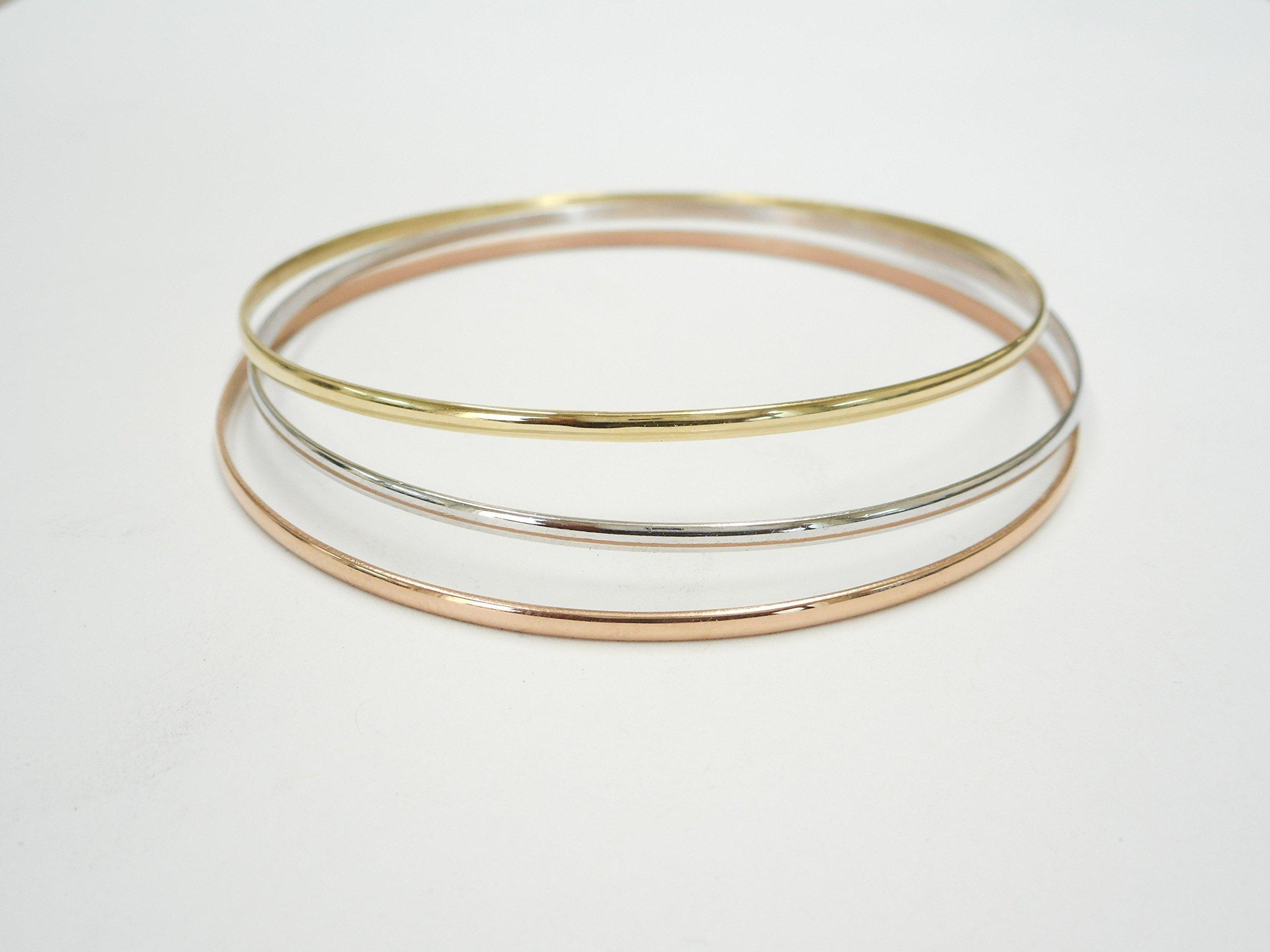2.00 MM. Half Round 10 K &14 K Solid Gold Slip-On Stacking Bangle/Bracelets Tricolor SOLID GOLD(NOT HOLLOW OR TUBE)