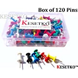 KESETKO® Thumb Pins, Push Pins, (Box of 120 Pins) Multicolord for Office, Home, School,