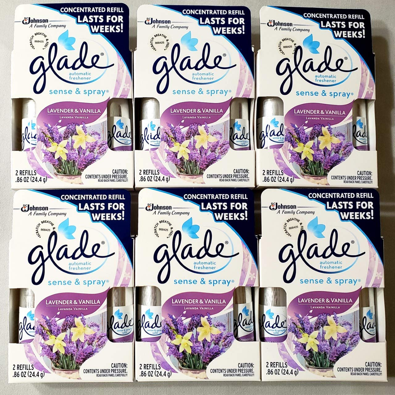 12 Glade Sense & Spray Automatic Freshener Refill Lavender & Vanilla (6 Twin Pack) by Glade
