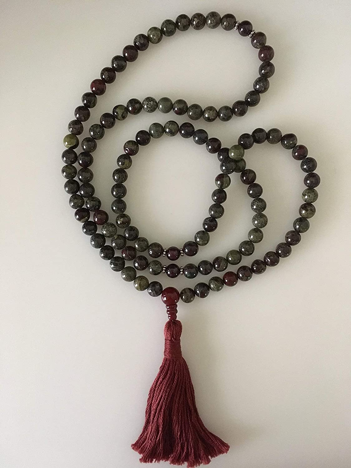 Dragon's Blood Jasper and Garnet Mala // Prayer Beads with Tassel // 108 Beads // Meditation // Handmade in Louisiana by Katog Ratna Ling