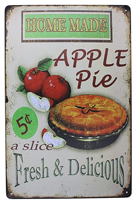 Amazon.com: Vintage Tin Plate Signs Home Made Apple Pie Wall Decor ...