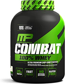Muscle Pharm Combat 100% Whey Protein Mix - 1 paquete - Ganancia muscular - WPC WPI - Con aminoácidos BCAA (Vanilla, 2.27kg)