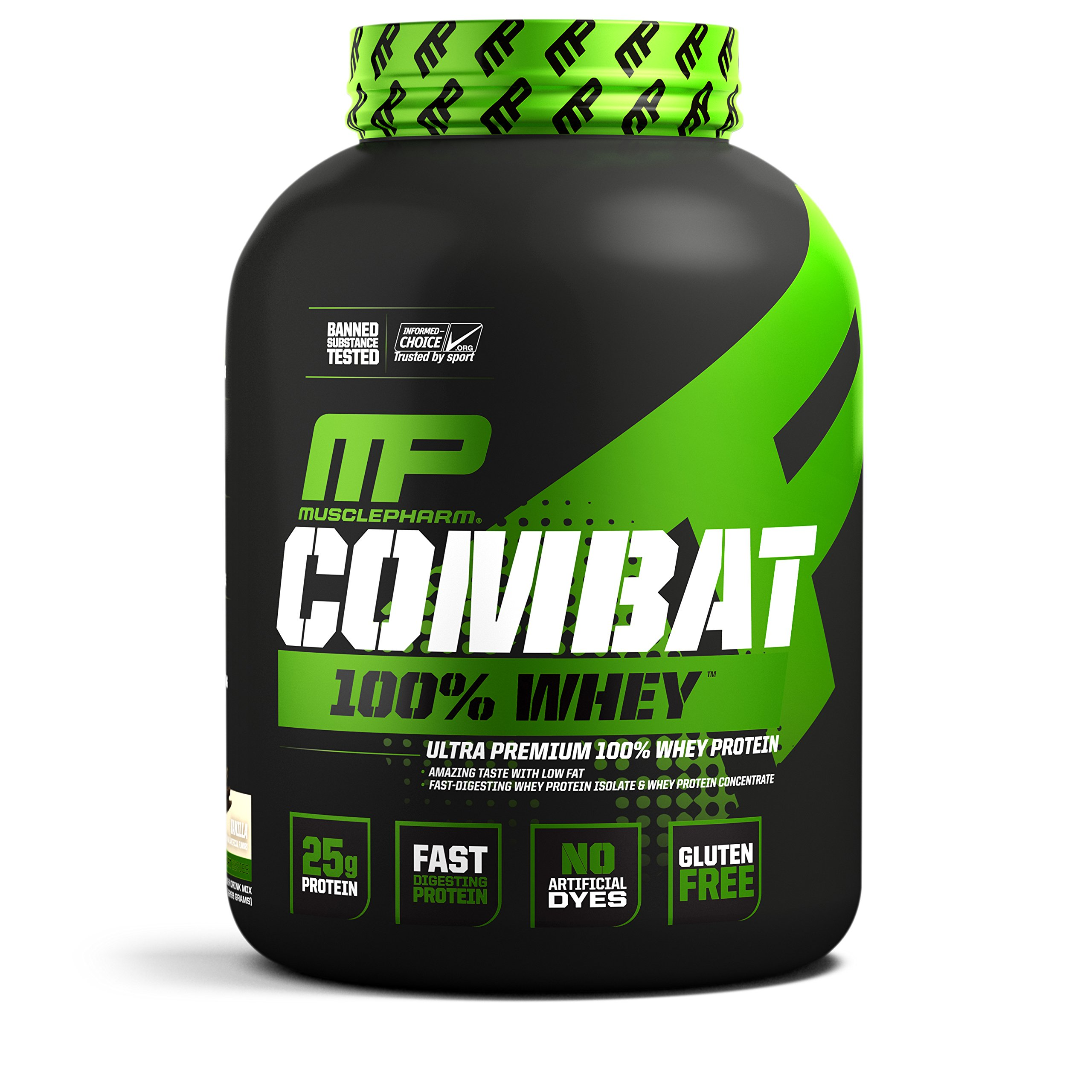 MusclePharm Combat 100% Whey, Muscle-Building Whey Protein Powder, 25 g of Ultra-Premium, Gluten-Free, Low-Fat Blend of Fast-Digesting Whey Protein, Vanilla, 5-Pound, 73 Servings by Muscle Pharm