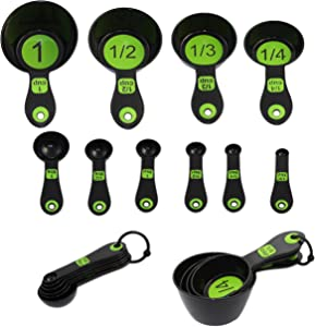 Chef Craft 42019 Set of 10 Piece Spoons and Measuring Cups (Black & Green), White