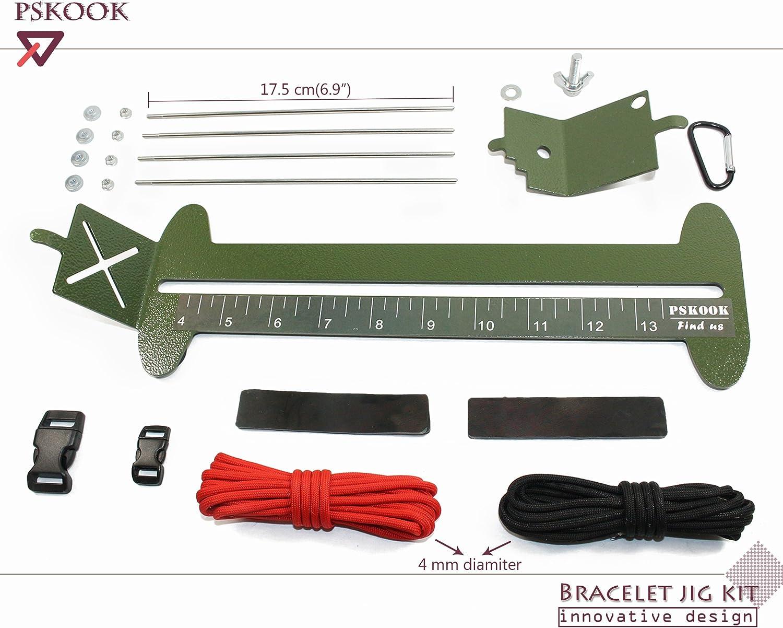 PSKOOK Paracord Jig Bracelet Maker Paracord Tool Kit Adjustable Length Metal Weaving DIY Craft Maker Tool 4 to 13 Solid Steel Accessories Army Green