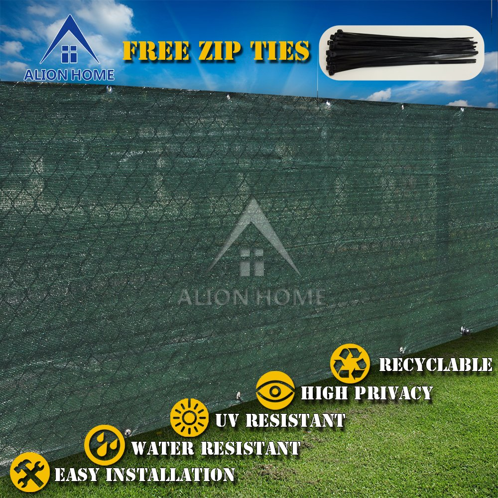 Alion Home HDPE Privacy Screen For Pool, Patio, Deck, Balcony, Railing, Fence. Without Black Binding, Dark Green (3'x18')