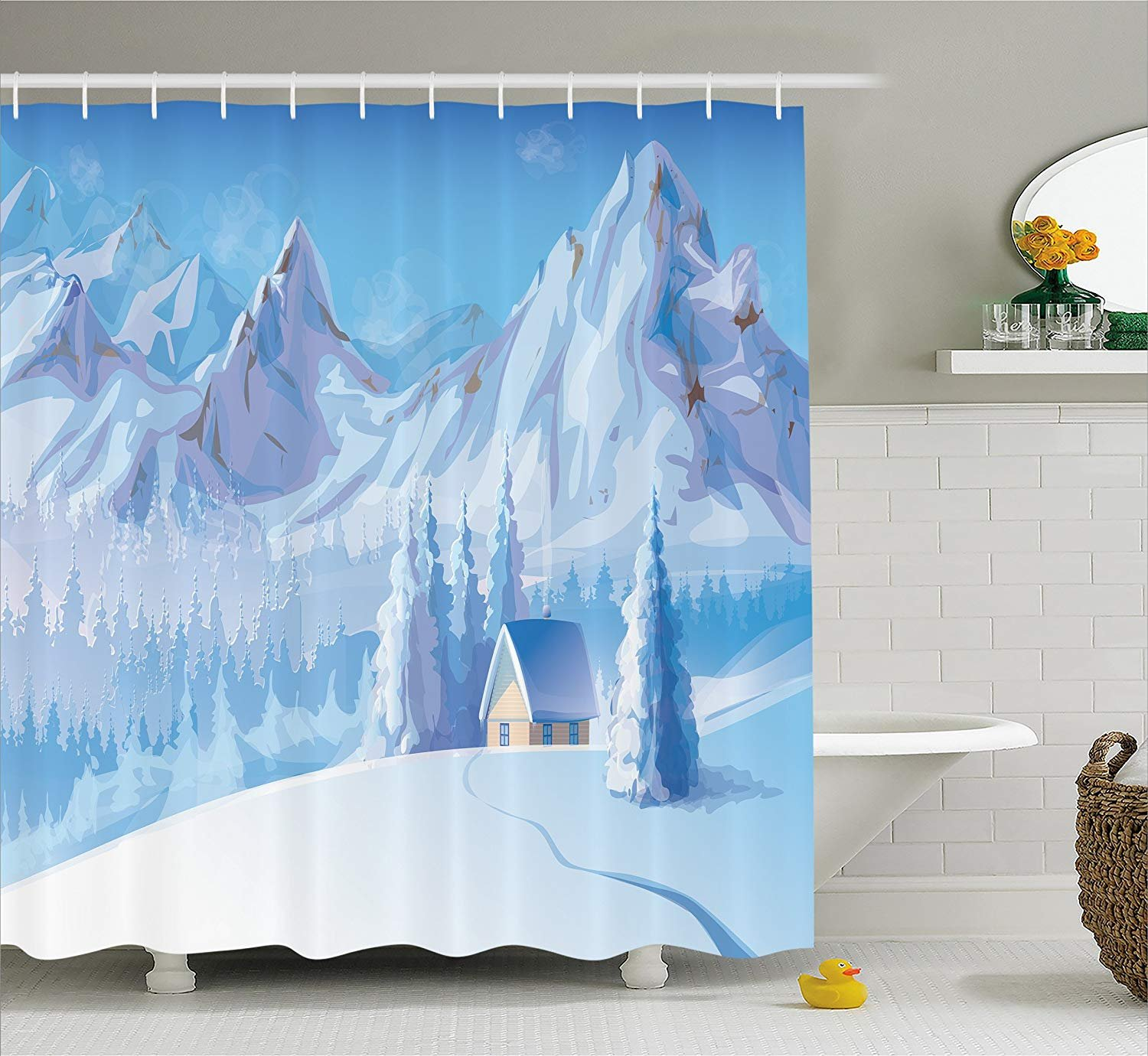 Eurag Winter Decorations Shower Curtain, Little House Below Majestic Mountains in Winter Ice Blizzard Frozen Back Decor, Fabric Bathroom Decor Set Hooks, 69W X 72L inches