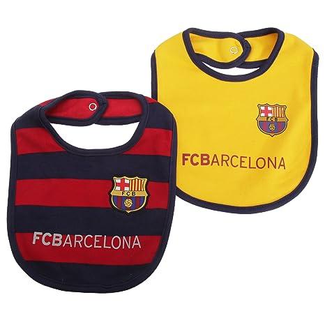FC Barcelona Oficial con el escudo del Unisex Bebé Babero (Pack de 2) amarillo