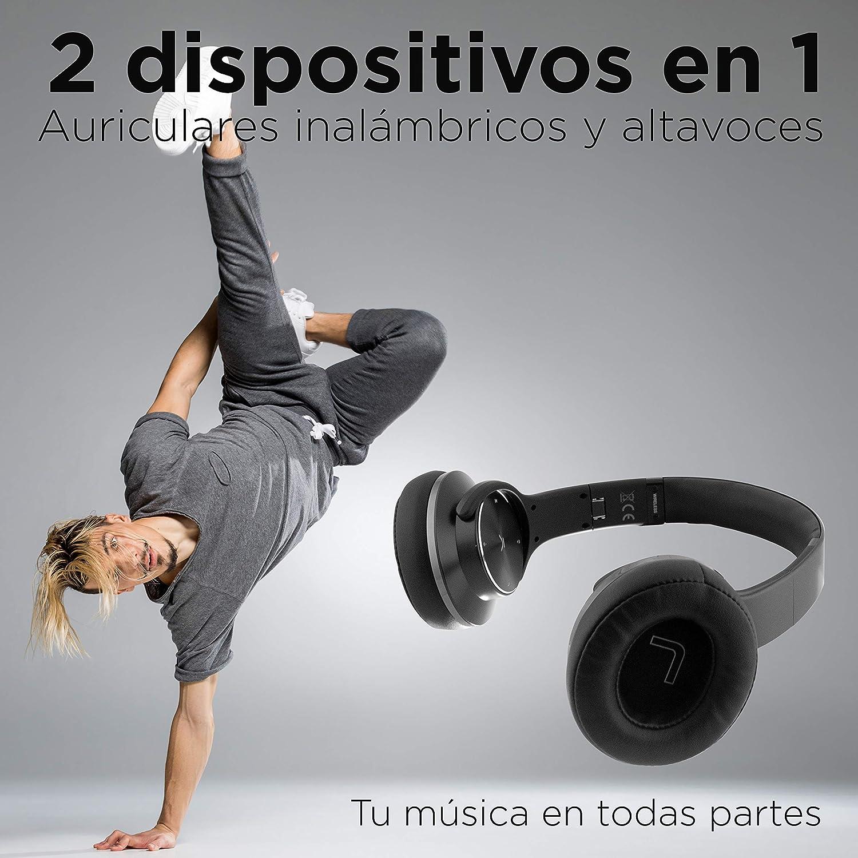 Ksix Auriculares Inalámbricos 2 en 1 Reversibles a Altavoz Bluetooth, Plegables, NFC, Micro SD y Radio FM incorporados, Color Negro: Amazon.es: Electrónica
