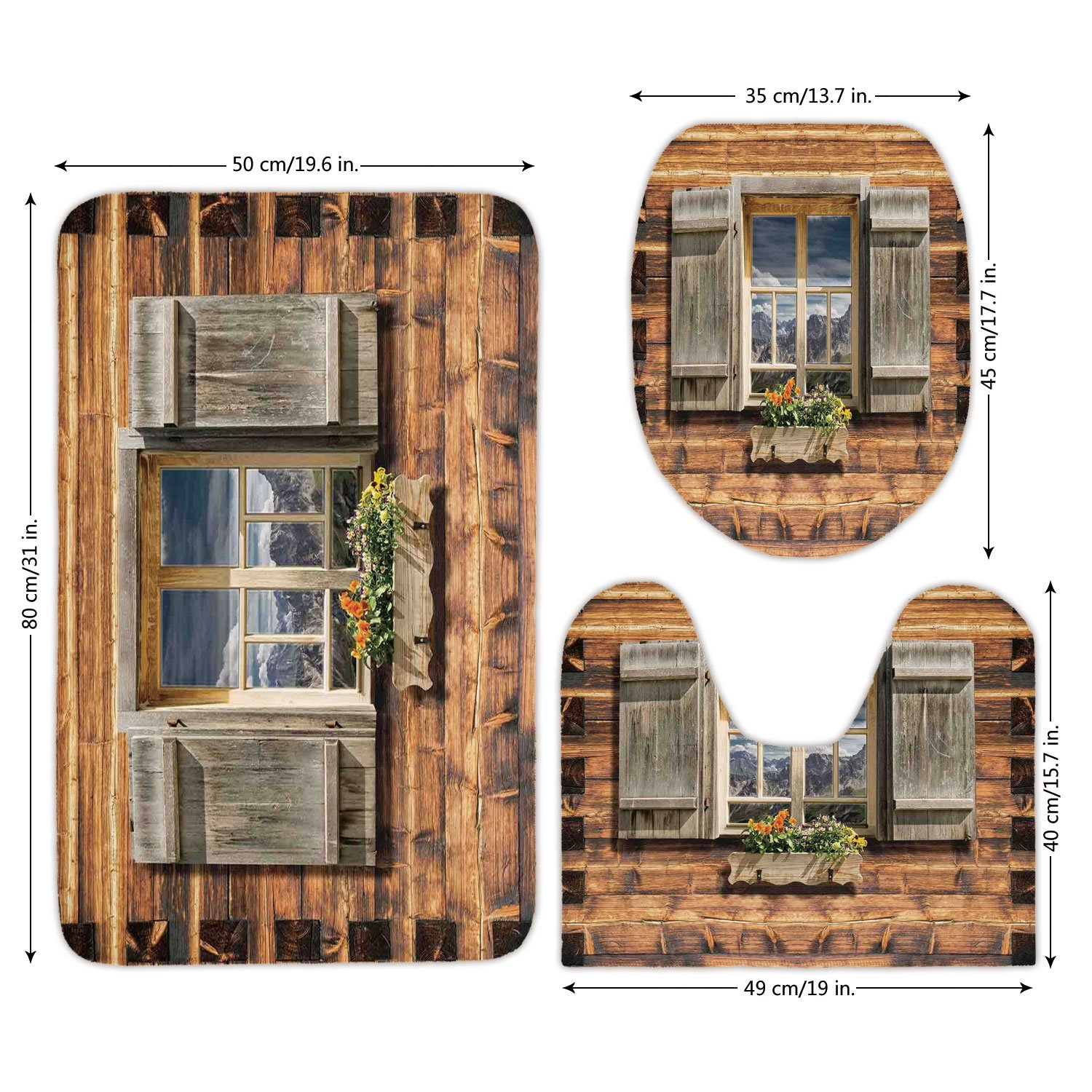 3 Piece Bathroom Mat Set,Shutters,Weathered Facade of A Mountain Hut with Summer Mountain Reflections on Window,Brown Green,Bath Mat,Bathroom Carpet Rug,Non-Slip