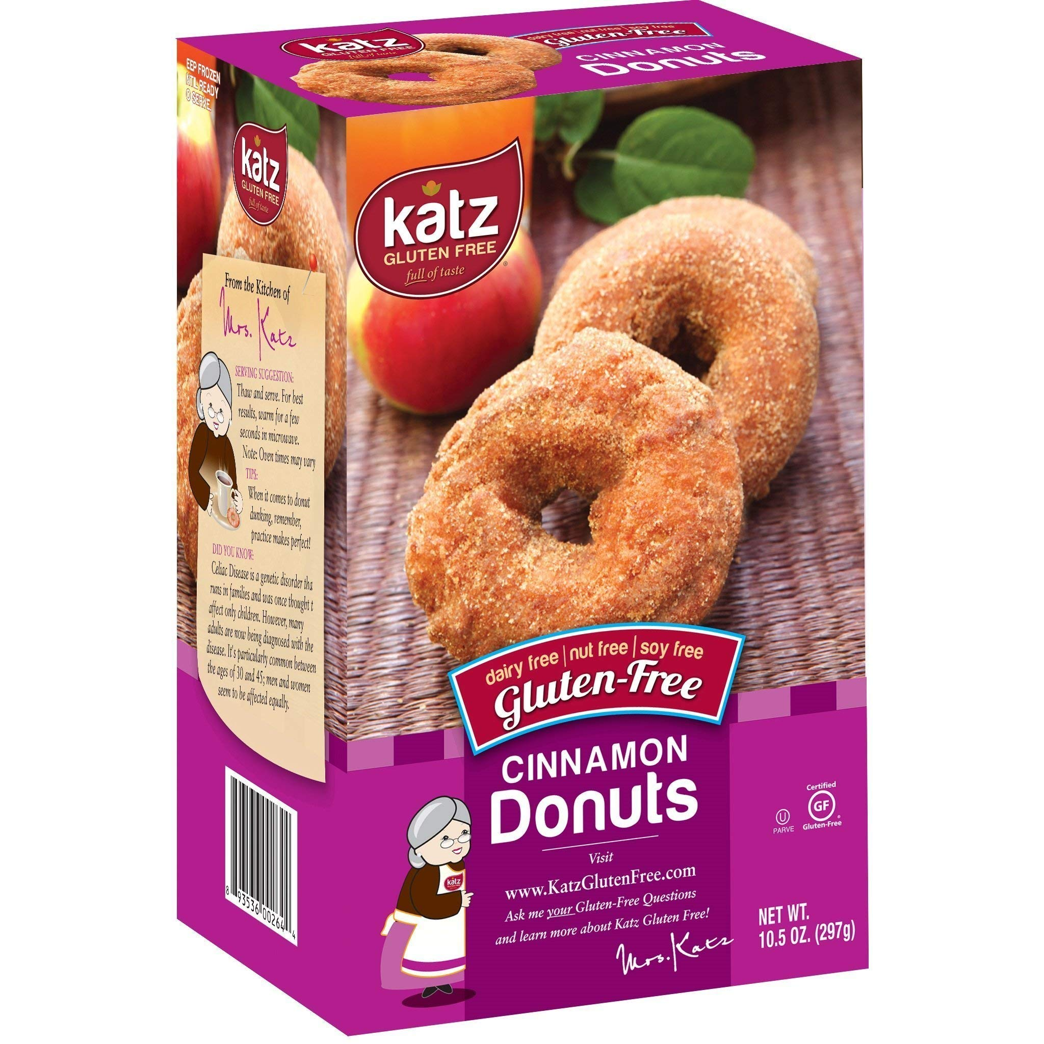 Katz Gluten-Free Cinnamon Donuts | Dairy, Nut, Soy and Gluten-Free | Kosher (1 Pack of 6 Donuts, 10.5 Ounce) by Katz Gluten Free