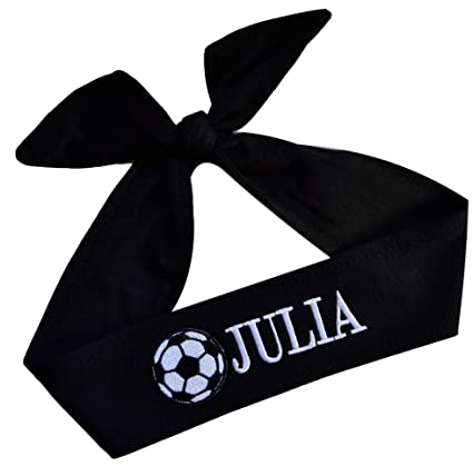 Funny Girl Designs Personalized Monogrammed Embroidered Soccer Ball Patch TIE  Back Headband - Your Custom Colors 51329e8026d