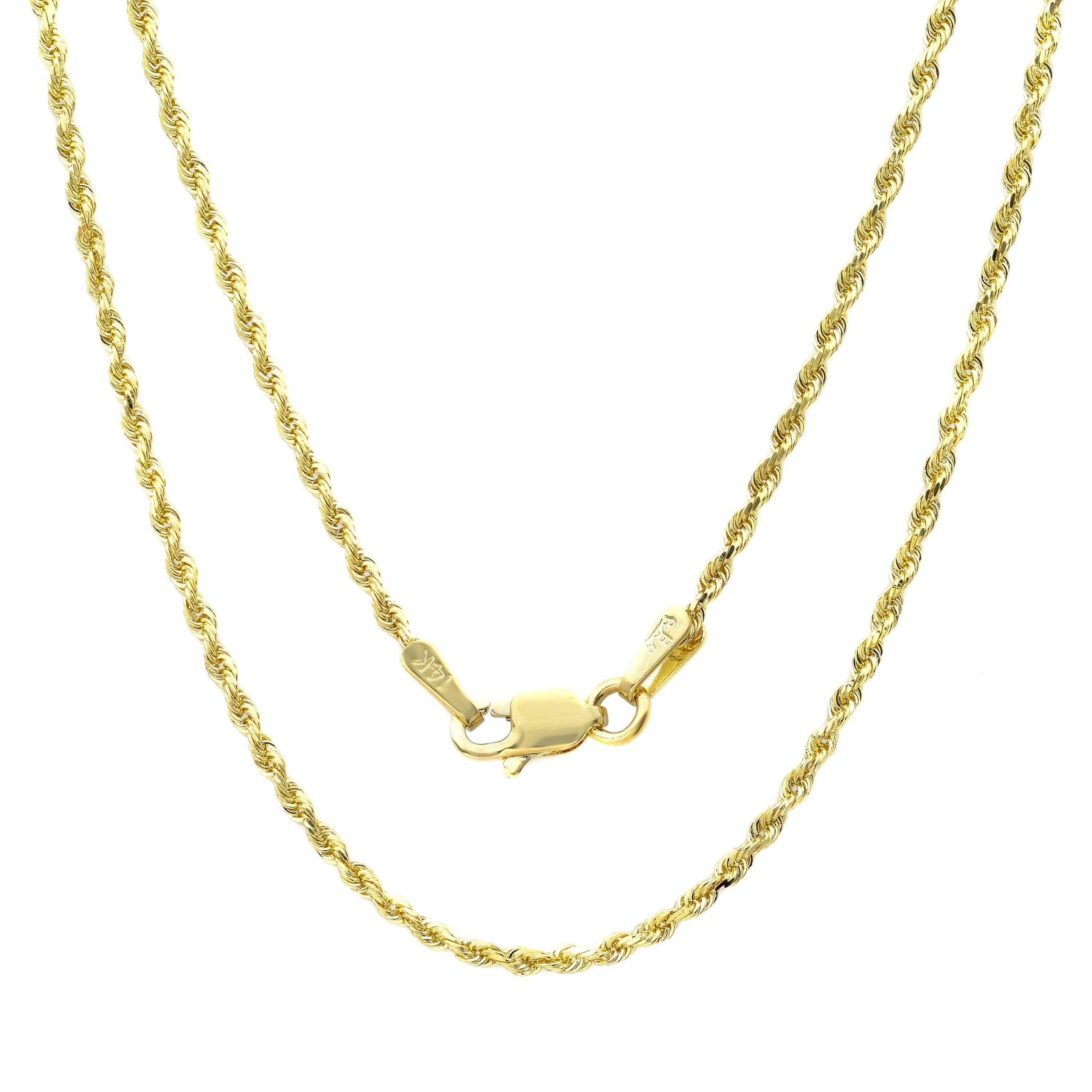 14k Yellow-gold 1.5 mm Diamond-cut Rope Chain, 16 Inch