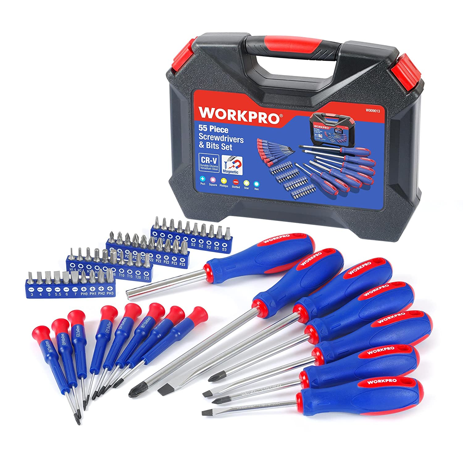 WORKPRO 56-Piece Screwdriver and Bits Set with Blow Molded Case W009013A
