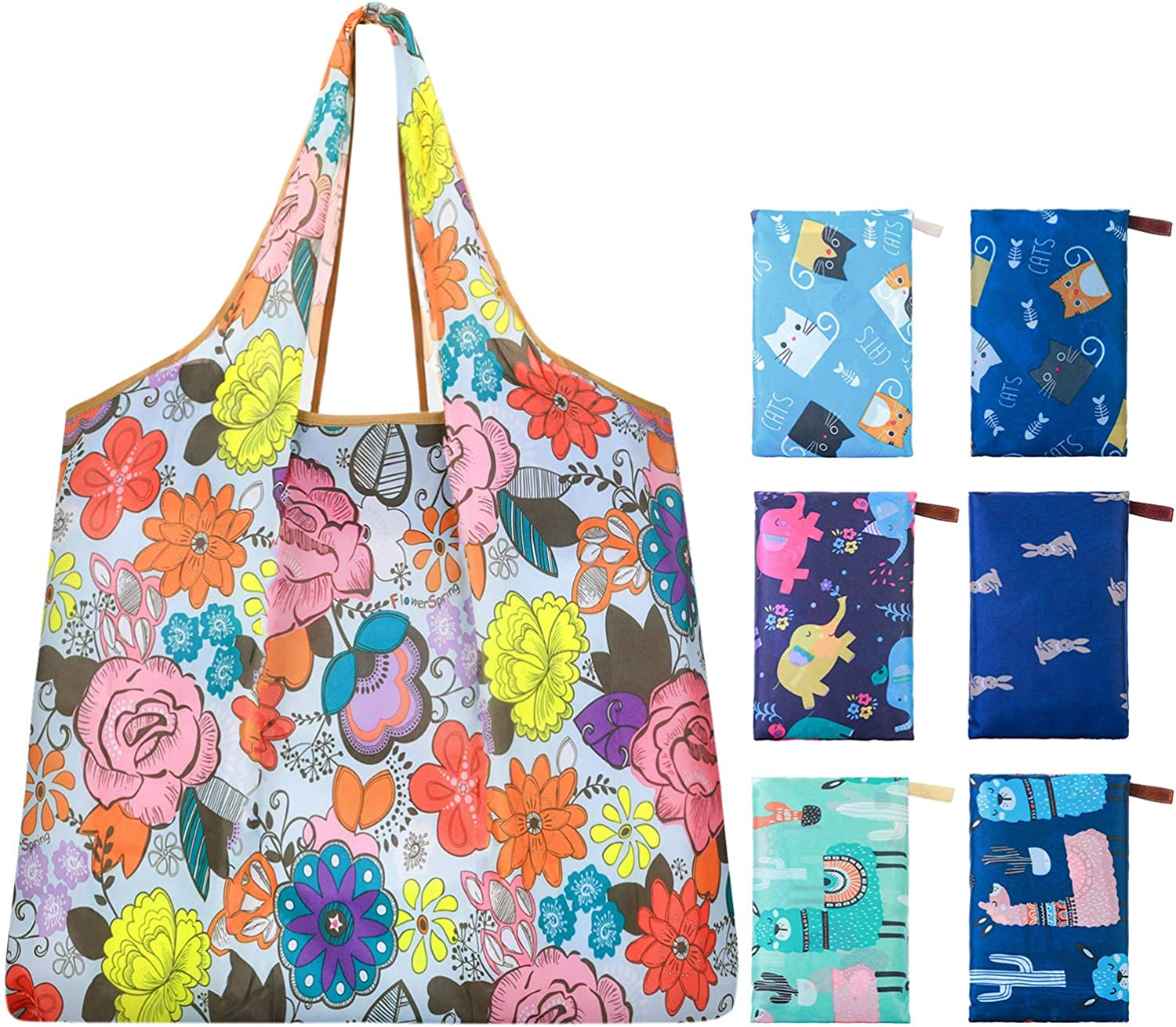 Reusable shopping bags for grocery handles Flowerful Bags Foldable washable