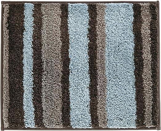 21 x 17 iDesign Microfiber Stripes Bathroom Shower Accent Rug Blue//Green