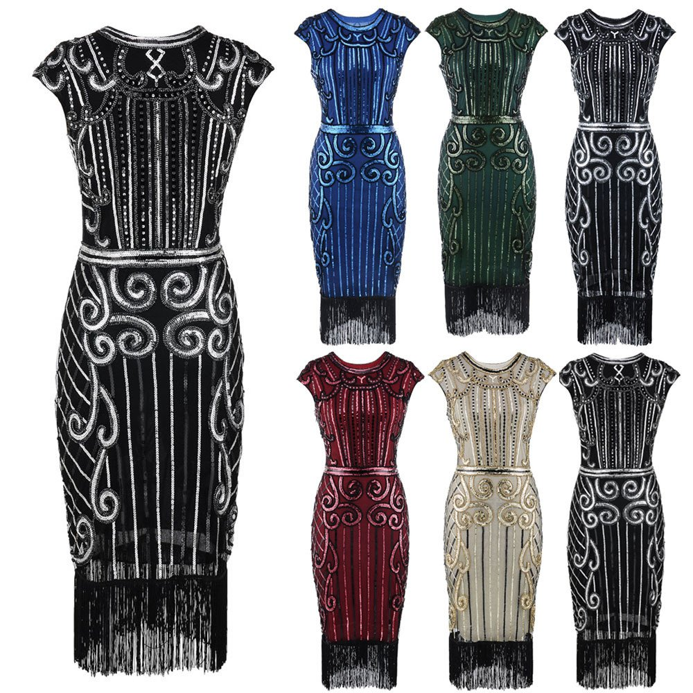 DAYLIN Newest Clearance 1920s Vintage Women Lady Tassel Sequin Art Nouveau Embellished Fringed Flapper Evening Party Dress Hot Sell: Amazon.co.uk: Clothing