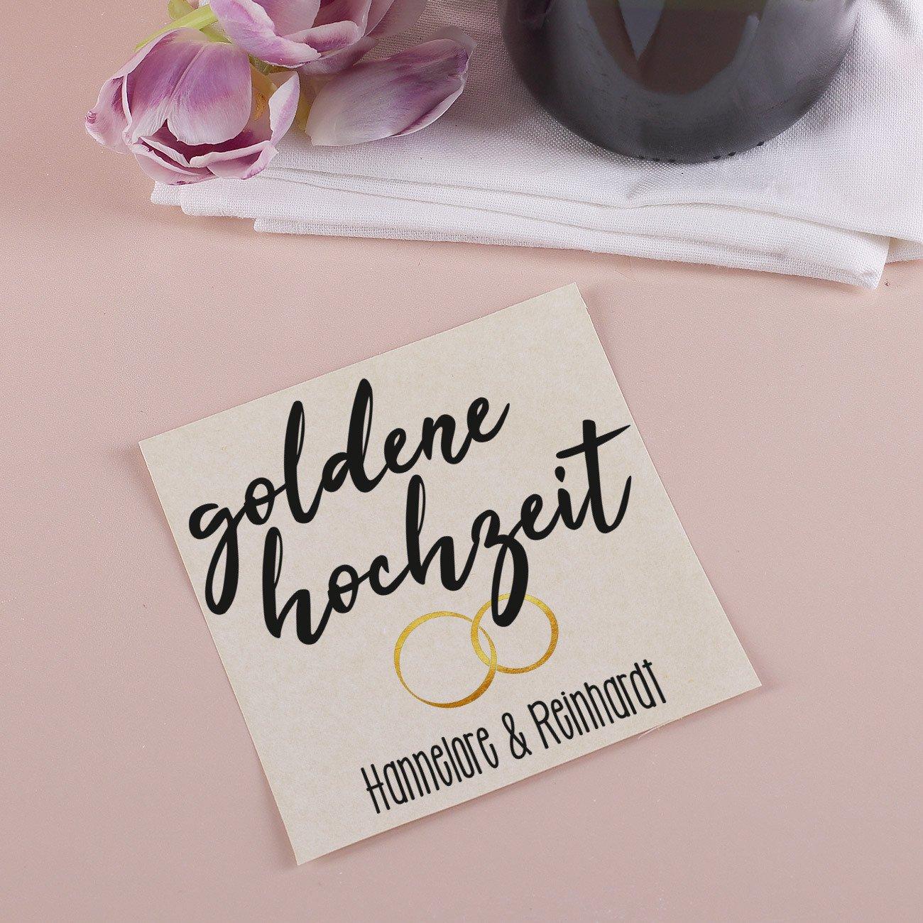 Herz /& Heim/® Etikett f/ür Flasche mit Namen des Goldpaares 1 St/ück Goldene Hochzeit