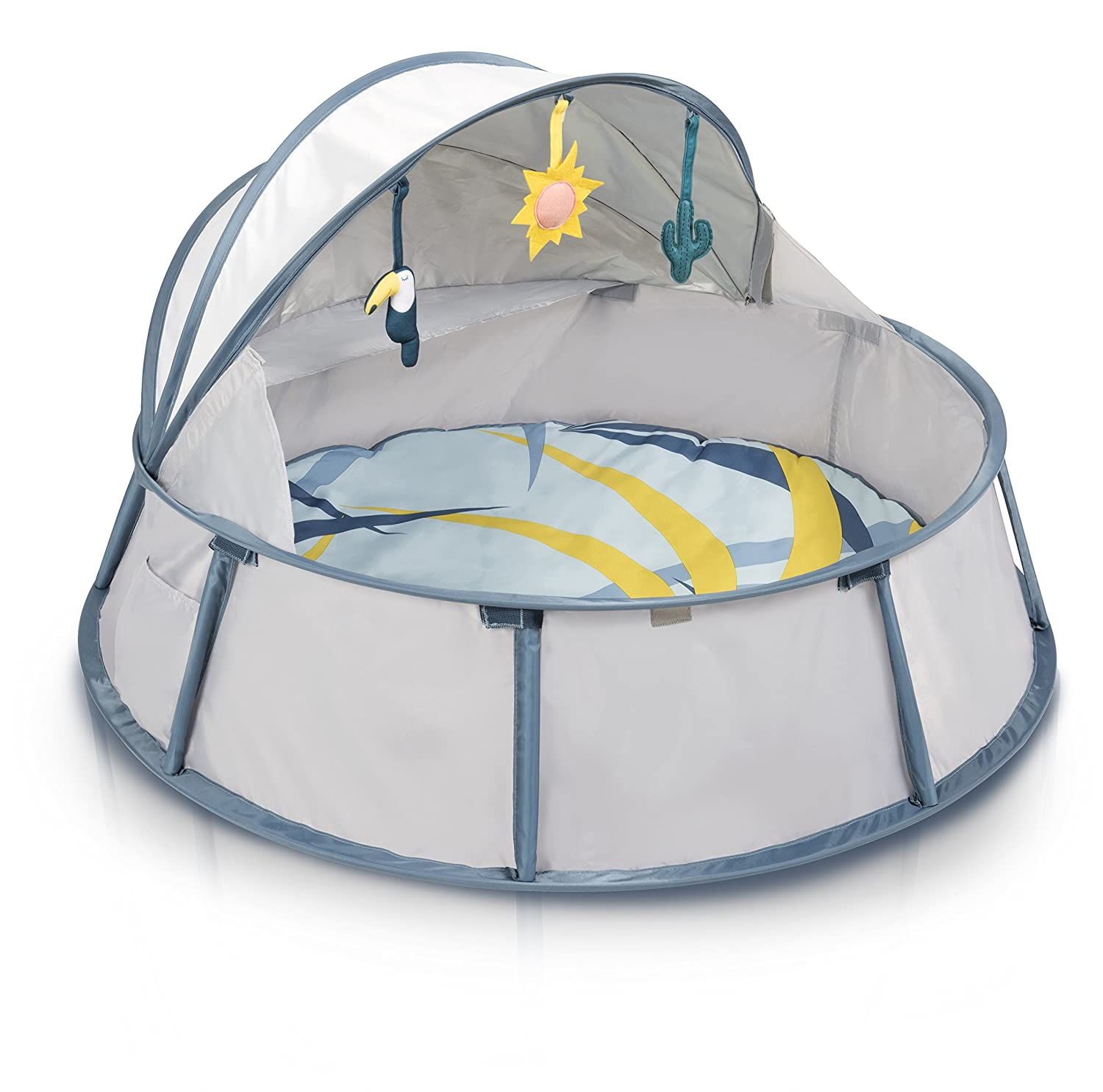 For Indoor /& Outdoor Use 6 Toys Included Mosquito Net Pop-Up Tent /& Travel Bassinet for Babies UPF 50+ Canopy Babymoov Babyni Activity Gym
