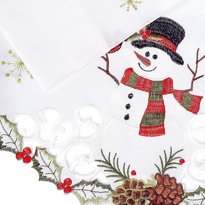 LORRAINE HOME FASHIONS Snowmen 58 x 36 Multi Window Curtain Swag