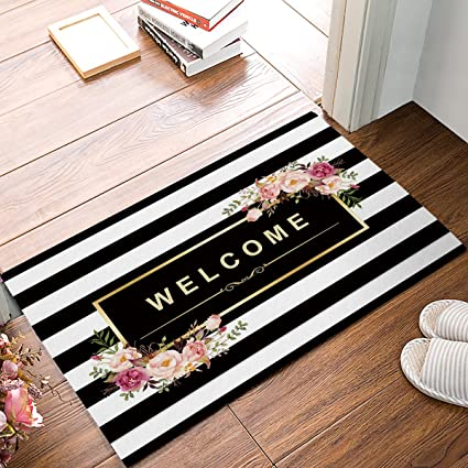 floral com door amazon black absorbent dp floor bath and white doormats mat homecreator welcome kitchen stripe rug entryway bathroom mats