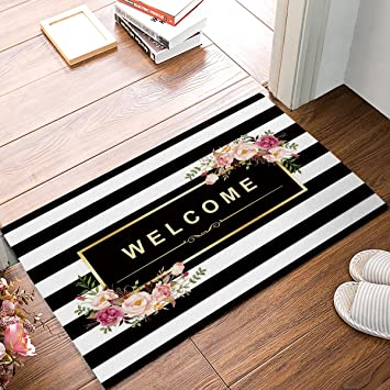 Homecreator Black And White Stripe Floral Welcome Door Mats Kitchen Floor Bath Entryway Rug Mat Absorbent Indoor Bathroom Decor Doormats Rubber Non