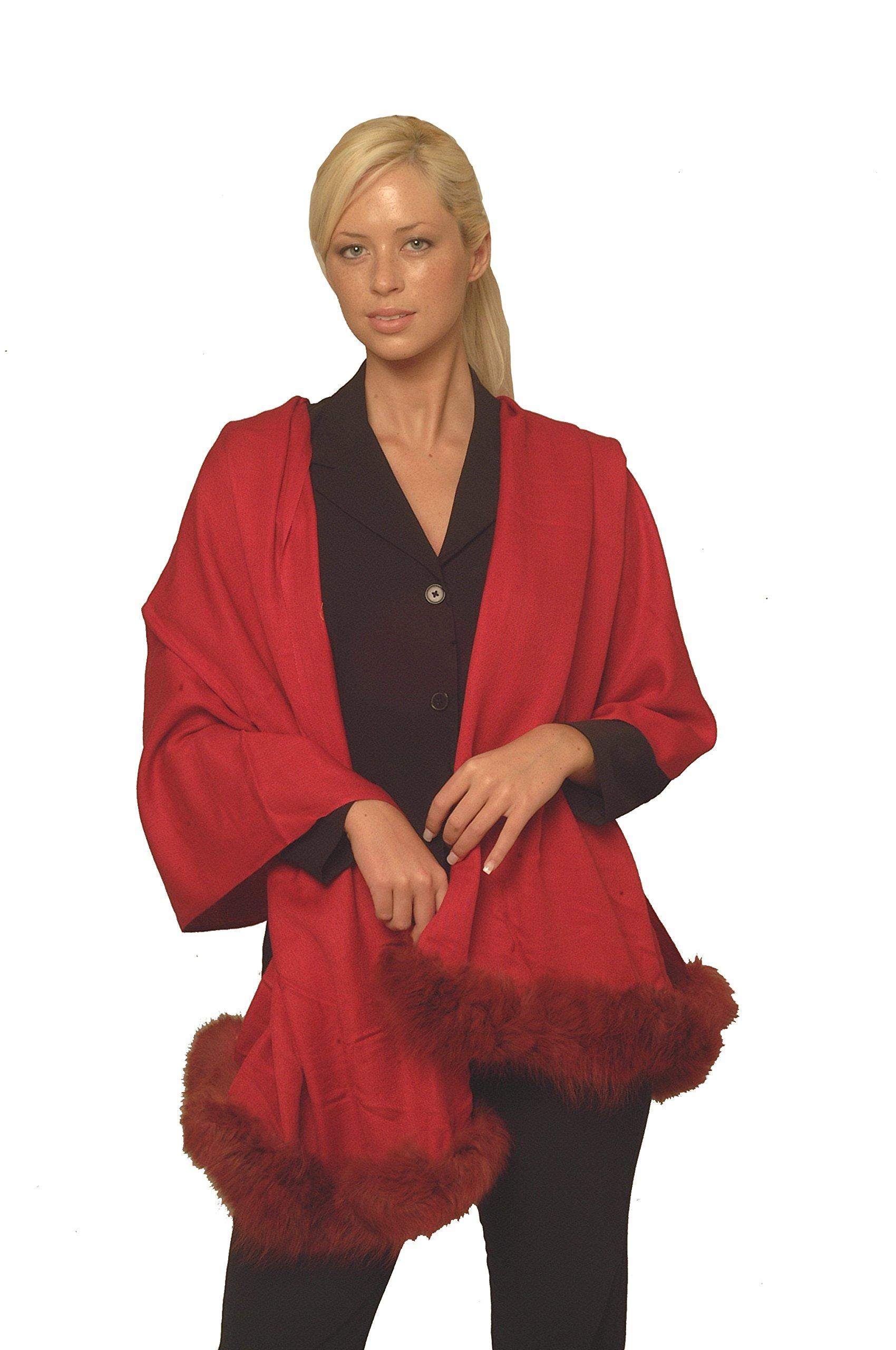Cashmere Pashmina Group:Solid Pashmina Shawl,Scarf & Wrap(with Genuine Fur Trim) (Lipstick Red)