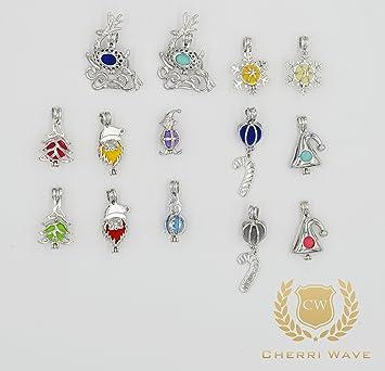 Amazon cherri wave 14 pcs christmas edition silver plated pearl cherri wave 14 pcs christmas edition silver plated pearl bead cage pendants for jewelry making mozeypictures Images