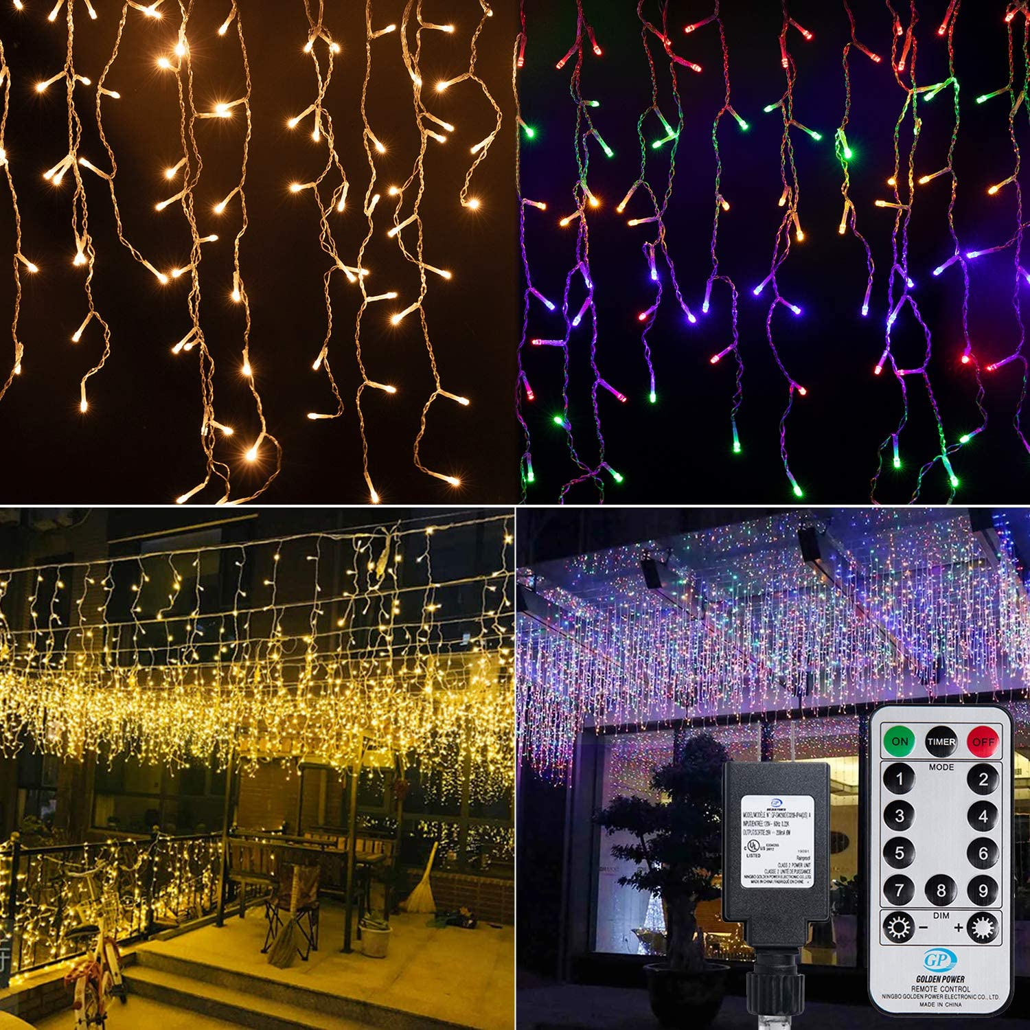 Color Changing LED Icicle Christmas Lights Outdoor, 19.6 Ft. 54 Drops with 306 LED, 9 Modes Waterproof Connectable Hanging Twinkle Decor Fairy String Lights for Holiday Christmas, Warm and Multicolor