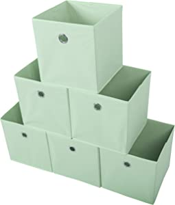 Amelitory Storage Bins Foldable Cube Organizer Fabric Drawer Set of 6 Light Green