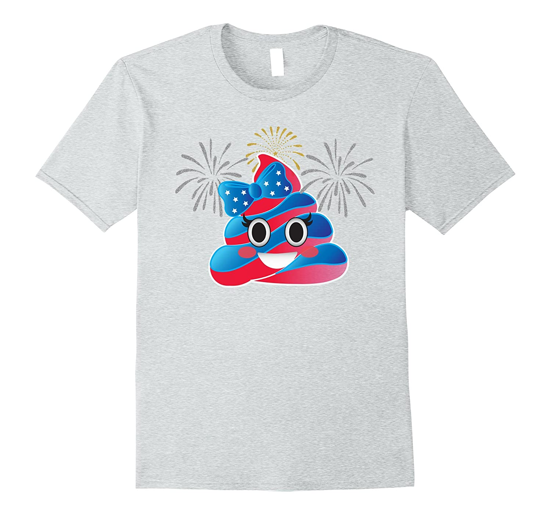 Poop Emoji USA Cute Fireworks Shirts Clothes Women Girls Men-Protee