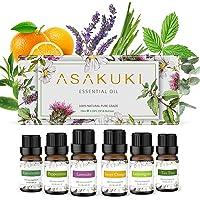 ASAKUKI Aromatherapy Essential Oils includes Lavender, Eucalyptus, Lemongrass, Tea Tree, Sweet Orange and Peppermint…