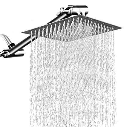 12 Square Rain Showerhead With 11 Adjustable Extension Arm