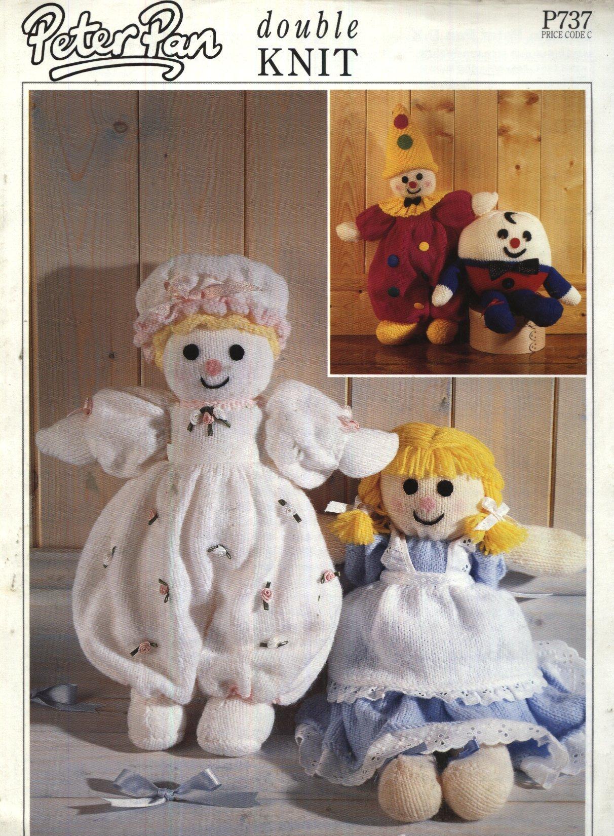 Clown /& Baby Doll Double Knit Knitting Pattern. Humpty Dumpty Alice Doll